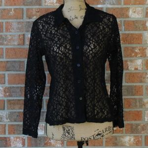Vintage 1990's Black Lace Shirt Size Large